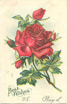Best Wishes Vintage 1908 Post Card - $3.00
