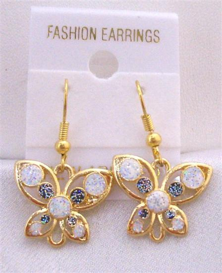 Dainty Earrings Butterfly Earrings w/ White & Blue Decorated Earrings