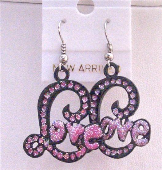 Ethnic Love Earrings Amethyst Pink Cubic Zircon w/ word Love Earrings