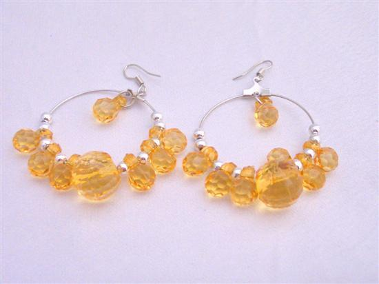 Primary image for Simulated Crystals Beads Hoop Earrings Lime Beautiful Color Earrings