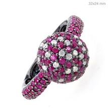 Ruby Gemstone Diamond Pave Cluster Ring 925 Sterling Silver Vintage Look... - $373.53