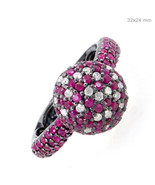 Ruby Gemstone Diamond Pave Cluster Ring 925 Sterling Silver Vintage Look Jewelry - $373.53
