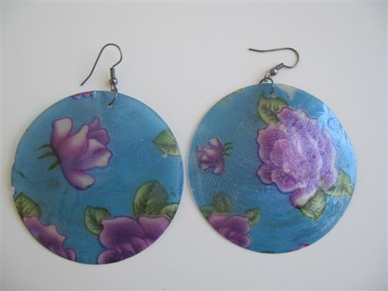 Fashion Round Mop Shell Earrings Painted Shell Earrings