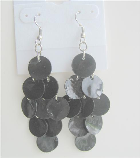 Striking Black Shell Earrings Mop Shell Dangle Earrings
