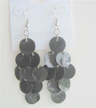 Striking Black Shell Earrings Mop Shell Dangle Earrings - $6.23