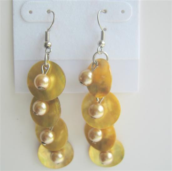Shell & Simulated Pearl Yellow Mop Shell Lemon Beads Dangle Earrings