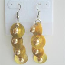 Shell & Simulated Pearl Yellow Mop Shell Lemon Beads Dangle Earrings - $5.58