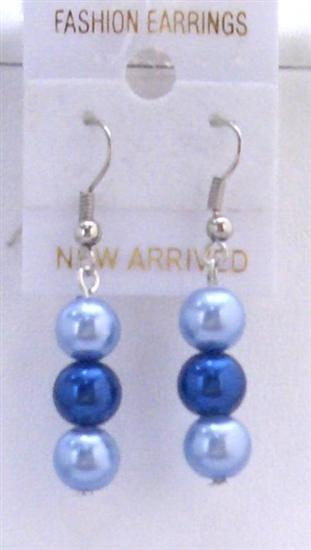 Two Pearls Color Earrings Light & Dark Blue Pearls Earrings