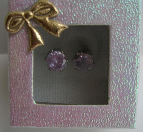 Lavender Cubic Zircon 8mm Stud Earrings w/ Gift Box Packing