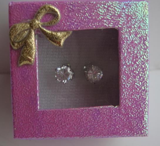 6mm Cubic Zircon Simulated Diamond Stud Earrings w/ Gift Box Packing