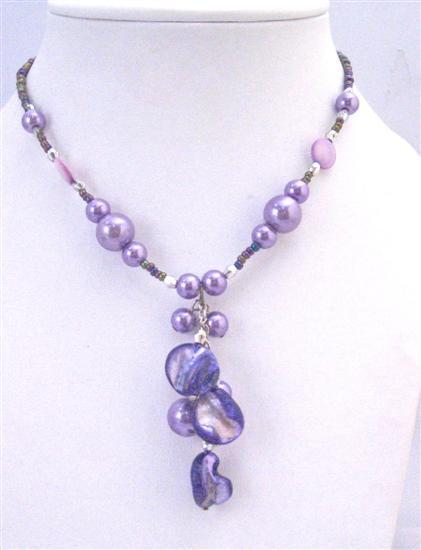 Choker Accented Dainty Purple Bead Purple Shell Purple Pearl