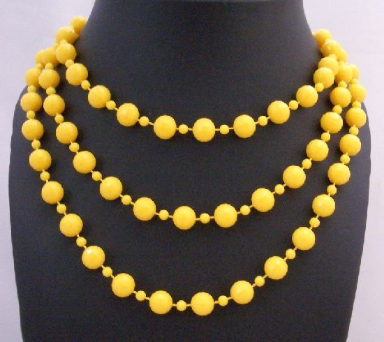 Sexy Yellow Beautiful Long Necklace Yellow Bead Long Necklace 54 Inch