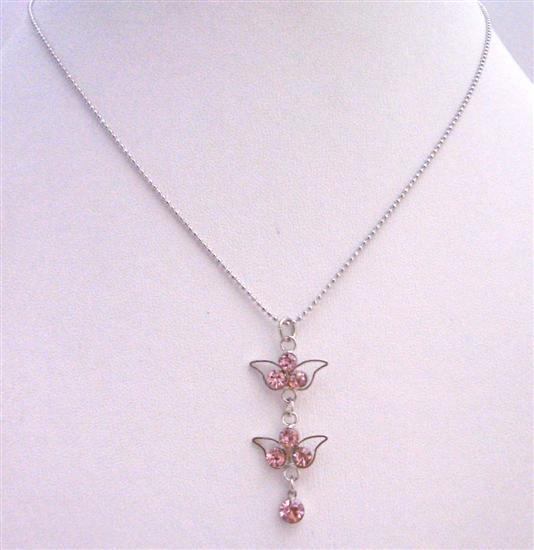 Rose Dangling Pendant Necklace Silver Frame Dangling Rose Cubic Zircon