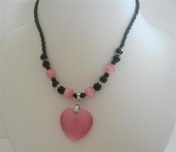 Cat Eye Pink Heart Pendant Necklace Black Beaded Choker Necklace - $9.48