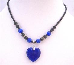 Dark Blue Heart Pendant Cat Eye Heart Black Beaded Choker Necklace - $9.48