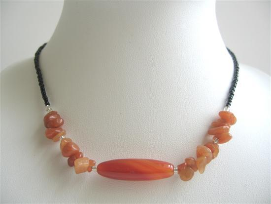 Primary image for Carnelian Nuggets w/ Carnelian Simulated Stone Bead Choker Necklace