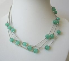 Multi strands Green Glass Faceted Beads Necklace - $9.48