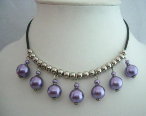 Purple Cultured Pearls Choker w/ Silver Beads Necklace