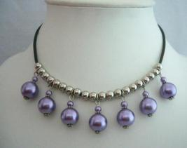 Purple Cultured Pearls Choker w/ Silver Beads Necklace - $8.20