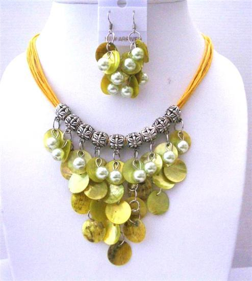 Primary image for Lime Mop Shell Synthetic Pearl Bead Multi Strand Threaded Necklace Set