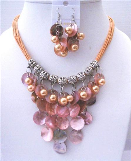 Primary image for Peach Shell Multi Threaded Strings w/ Mop Shell & Pearls Jewelry Set