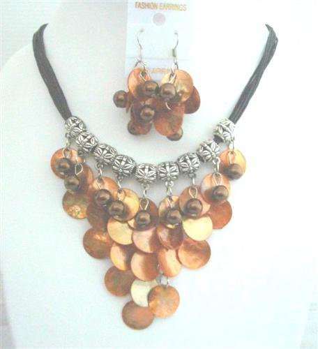 Brown Mop Shell w/ Synthetic Pearl Bead Threaded Necklace Set