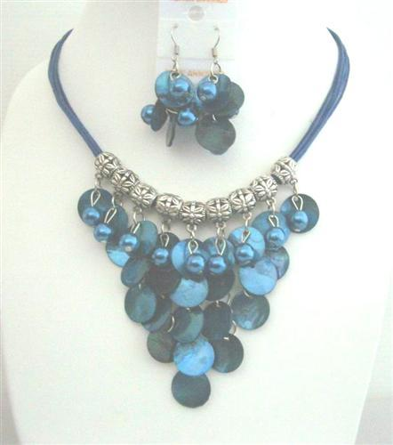 Blue Shell Necklace Mop Shell Dangling Jewelry Threaded Necklace Set