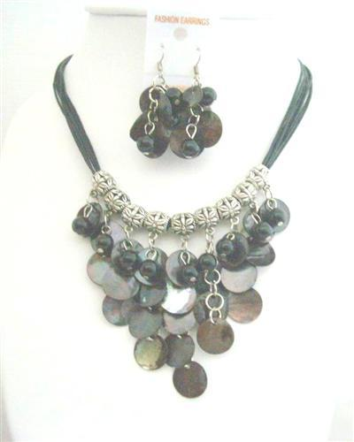 Primary image for Black Mop Shell Dangling w/ Synthetic Pearl Bead Threaded Necklace Set