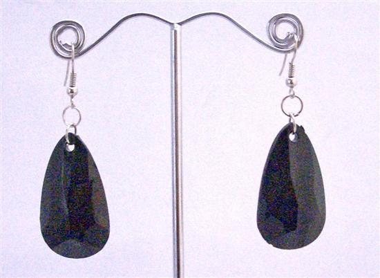 Jet Black Bead Dollar Earrings Incredible Price Polygan Shap