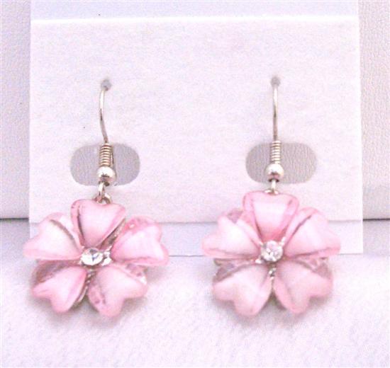 Rose Pink Sleek Enamel Flower Earrings w/ Simulated CZ Dolla