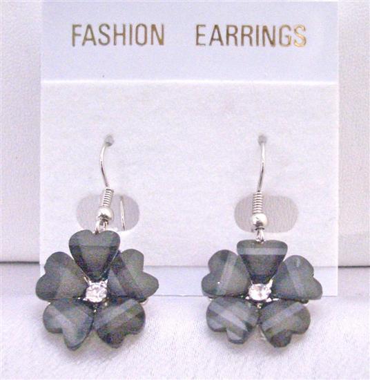 Dollar Earrings Black Enamel Flower Earrings w/ CZ Beautiful