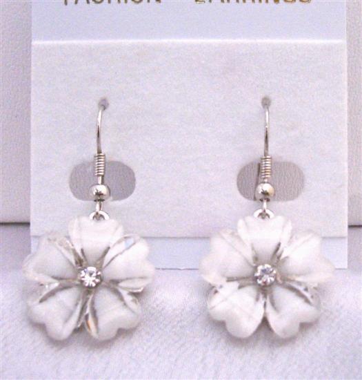 Enamel White Flower Simulated Diamond Earrings Dollar Earrin