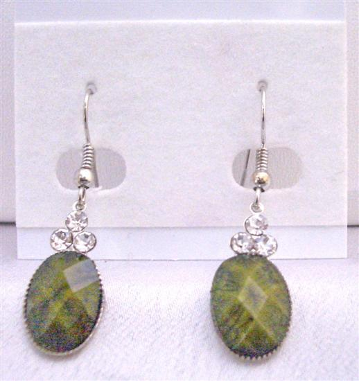 Traditional Ethnic Affordable Dollar Earrings in Olivine Gre