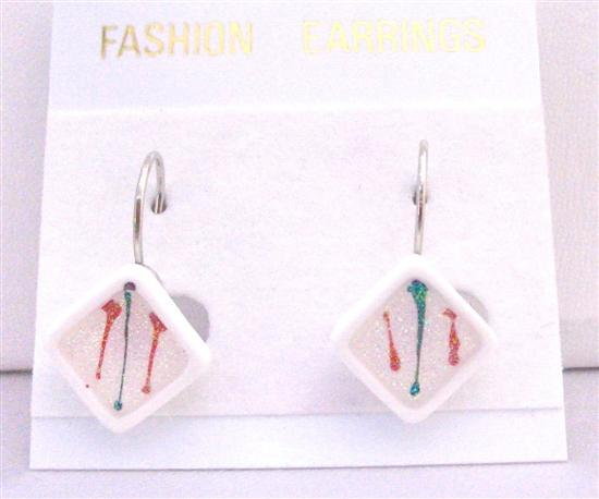 Diamond Shaped White Enamel Filled w/ Christmas Color Dollar Earrings