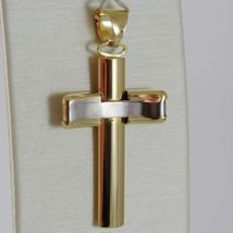18K YELLOW WHITE GOLD CROSS SMOOTH STYLIZED FINELY WORKED CURVED MADE IN ITALY image 3
