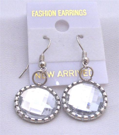 Clear Crystal Simulated Faceted Crystal Round Earrings