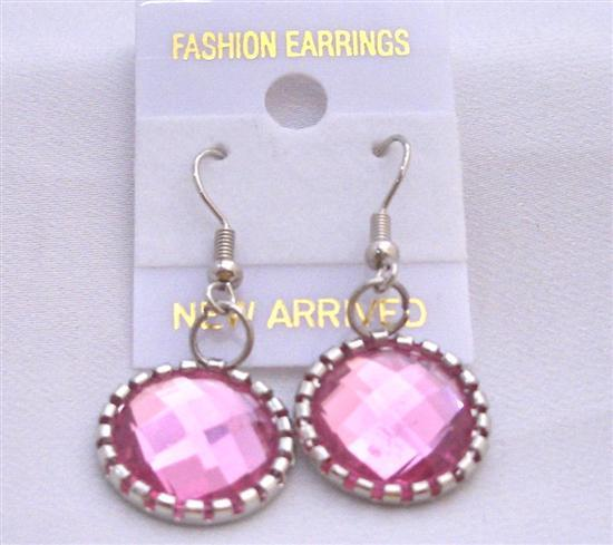 Beautiful Rose Pink Simulated Crystals Earrings