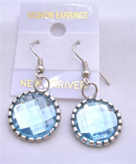 Sparkling Aquamaine Crystals Earrings Silver Oxidized Earrings