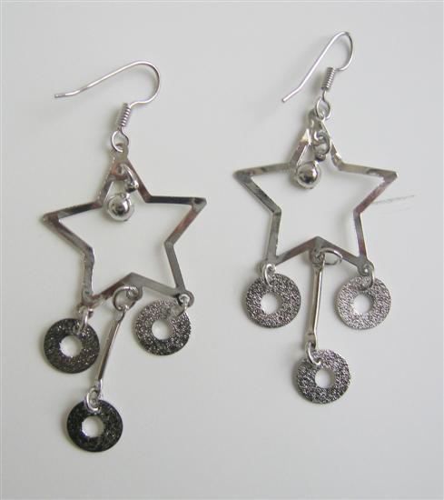 Big Stars w/ Dangling Beads Alloy Dangling Chandelier Earrings