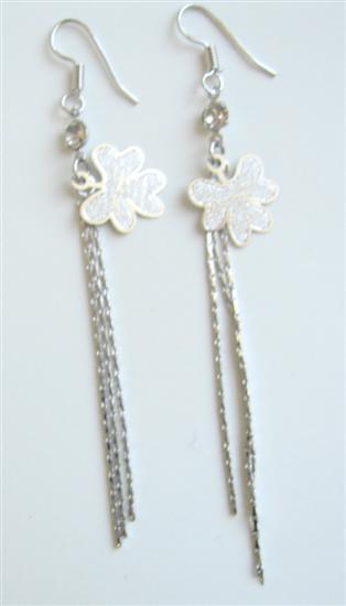 Alloy Enamel Flower Chandelier Earrings Long Tassel Drop Down Earrings