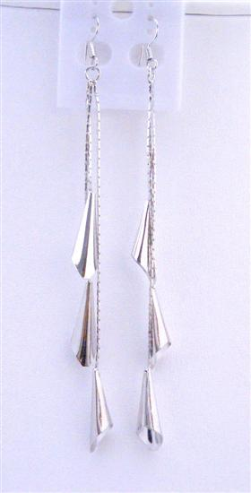 Primary image for Corn Shaped Bead Dangling Silver Plated Strings 4 Inches Long Earrings
