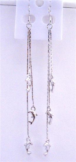 Dolphin Dangling Chandelier Silver Plated String 4 Inches Long Earring