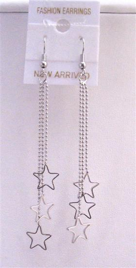 Primary image for Stars Chandelier Dangling Earrings Three Strings Falling w/ Stars