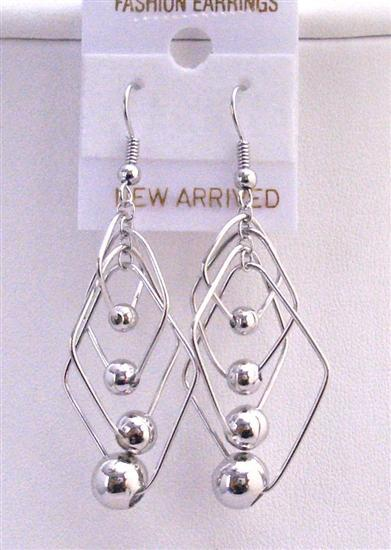 Primary image for Multi Diamond Shape Dangling w/ Round Ball Accented Stylish Earrings