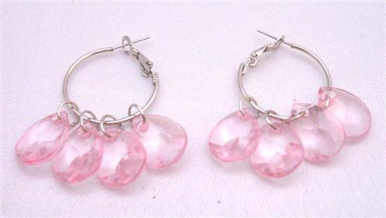 Delicate Sleek Lite Pink Dangling Earrings Simulated Glass B