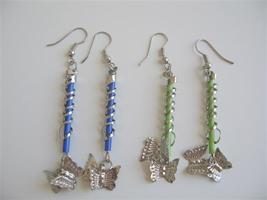 Butterfly Dangling Earrings In Green & Blue Color - $4.30