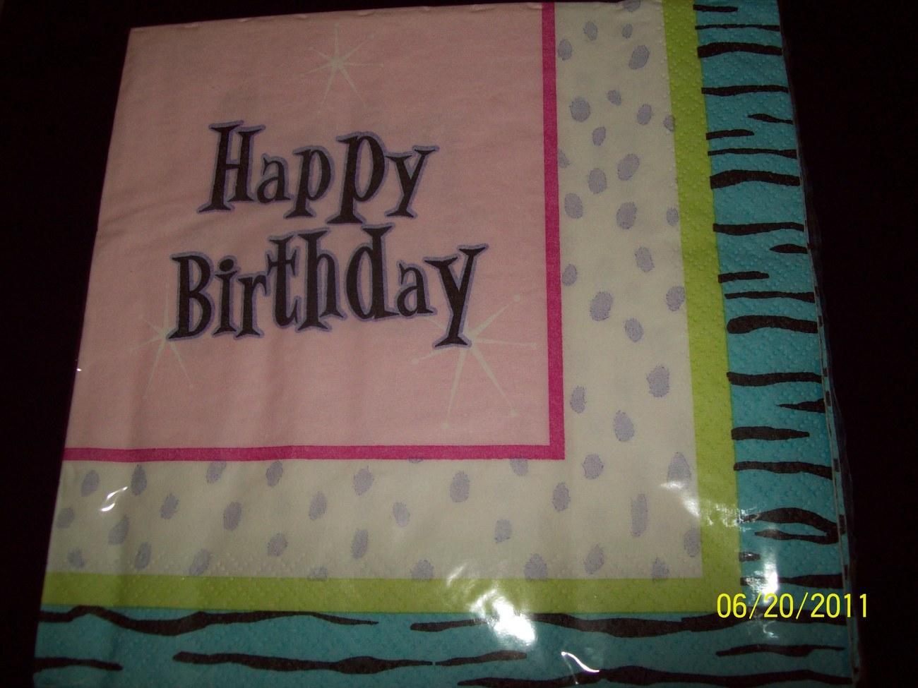 3 PACKS HAPPY BIRTHDAY Zebra Print Luncheon NAPKINS 16ct - 3ply NEW