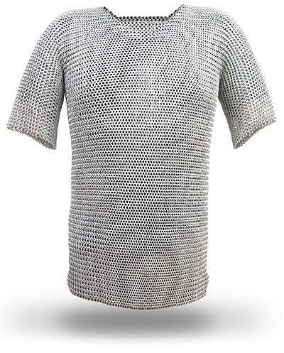 LARP Ritter Kettenhemd & Kettenhaube Größe M, Chainmail Shirt,Hauberk +Coif LO