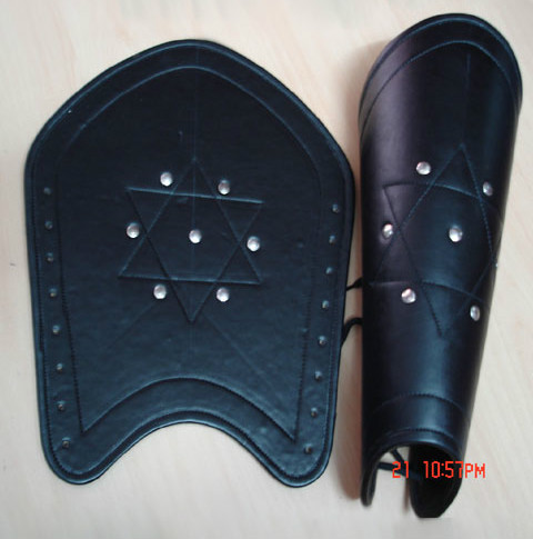 LEATHER LEG GUARD - MEDIEVAL ARMOR, Metal Stud Accents Reenactment Armour battle