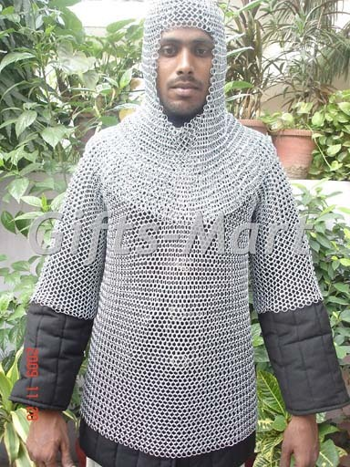 MEDIEVAL CHAINMAIL Armor SHIRT FREE CHAIN MAIL COIF, Collectible Dress,Xmas Gift